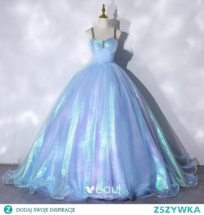 Iluzja Błękitne Kopciuszek Sukienki Na Bal 2021 Suknia Balowa Rhinestone Spaghetti Pasy Bez Rękawów Bez Pleców Długie Bal Sukienki Wizytowe