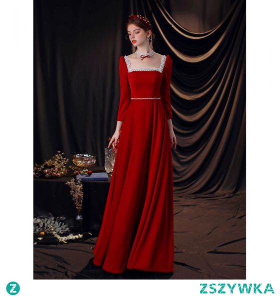 Piękne Czerwone Z Koronki Kwiat Sukienki Wieczorowe 2021 Princessa Kwadratowy Dekolt Rhinestone Długie Rękawy Bez Pleców Długie Wieczorowe Sukienki Wizytowe