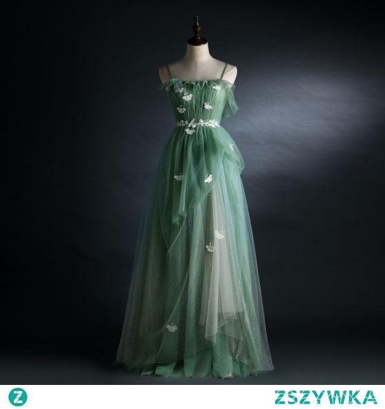 Piękne Szałwia Zielony Sukienki Na Bal 2021 Princessa Spaghetti Pasy Z Koronki Motyl Bez Rękawów Bez Pleców Długie Bal Sukienki Wizytowe