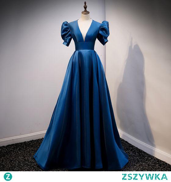 Vintage Królewski Niebieski Satyna Sukienki Na Bal 2021 Princessa V-Szyja Rękawy z dzwoneczkami Bez Pleców Długie Bal Sukienki Wizytowe