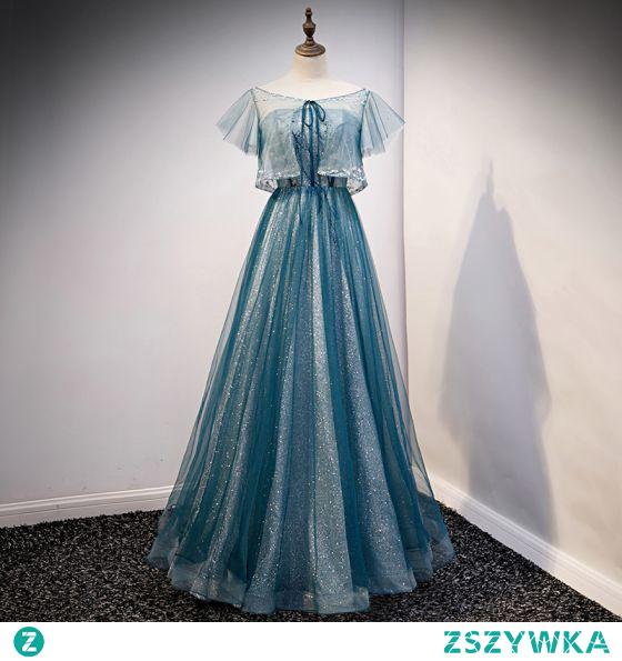 Uroczy Niebieskie Cekinami Sukienki Na Bal 2021 Princessa Wycięciem Frezowanie Cekiny Kótkie Rękawy Długie Bal Sukienki Wizytowe