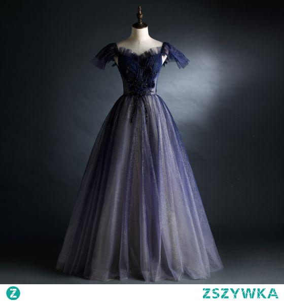 Vintage Granatowe Cekinami Sukienki Na Bal 2021 Princessa Kwadratowy Dekolt Frezowanie Kryształ Kótkie Rękawy Bez Pleców Długie Bal Sukienki Wizytowe