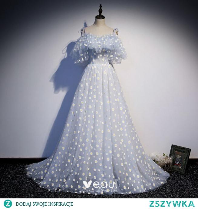 Moda Błękitne Wróżka Kwiatowa Stokrotka Kwiatowy Sukienki Na Bal 2021 Princessa Spaghetti Pasy Kótkie Rękawy Bez Pleców Trenem Sweep Bal Sukienki Wizytowe