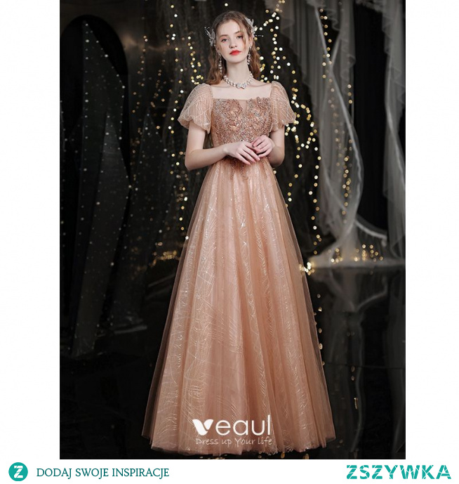 Uroczy Błyszczące Złote Sukienki Na Bal 2021 Princessa Kwadratowy Dekolt Frezowanie Cekiny Kótkie Rękawy Bez Pleców Długie Bal Sukienki Wizytowe