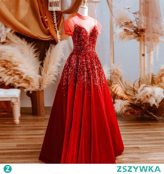 Vintage Czerwone Cekiny Sukienki Na Bal 2021 Princessa Wycięciem Kótkie Rękawy Długie Bal Sukienki Wizytowe