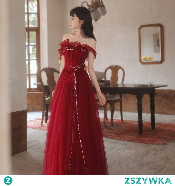 Moda Burgund Sukienki Wieczorowe Sukienki Na Bal 2021 Princessa Wzburzyć Perła Przy Ramieniu Bez Rękawów Bez Pleców Długie Bal Sukienki Wizytowe