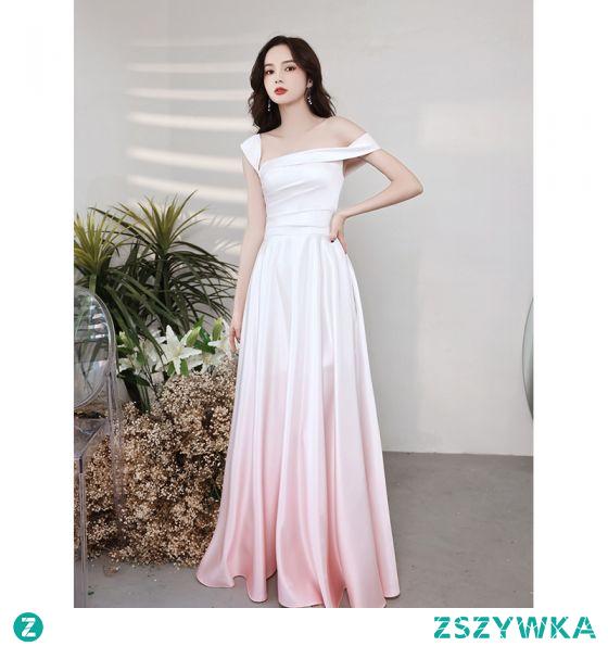 Piękne Gradient-Kolorów Rumieniąc Różowy Satyna Sukienki Na Bal 2021 Princessa Przy Ramieniu Kótkie Rękawy Bez Pleców Długie Wieczorowe Sukienki Wizytowe