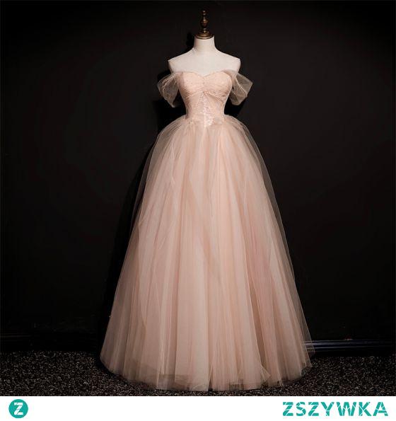 Piękne Rumieniąc Różowy Sukienki Na Bal 2021 Princessa Przy Ramieniu Bez Rękawów Bez Pleców Frezowanie Długie Bal Sukienki Wizytowe