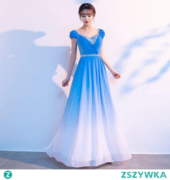 Tradycyjny Niebieskie Gradient-Kolorów Sukienki Na Bal 2021 Princessa V-Szyja Frezowanie Rhinestone Cekiny Kótkie Rękawy Bez Pleców Długie Bal Sukienki Wizytowe