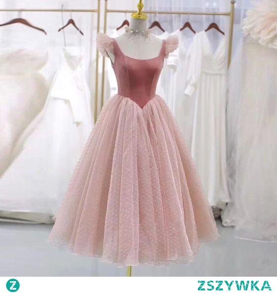 Vintage Rumieniąc Różowy Zamszowe Sukienki Na Bal 2021 Princessa U-Szyja Kótkie Rękawy Długość Herbaty Bal Sukienki Wizytowe