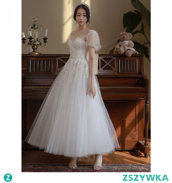 Eleganckie Kość Słoniowa Suknie Ślubne 2021 Princessa Wycięciem Perła Z Koronki Kwiat Kótkie Rękawy Bez Pleców Długie Ślub