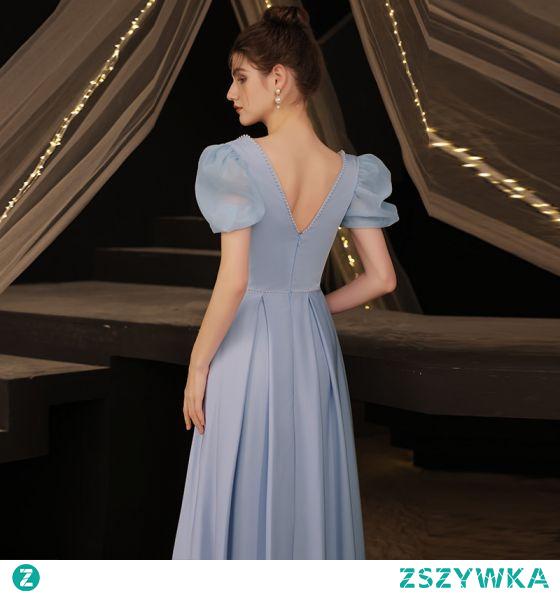 Vintage Proste / Simple Błękitne Satyna Sukienki Wieczorowe Sukienki Na Bal 2021 Princessa Perła Kwadratowy Dekolt Kótkie Rękawy Bez Pleców Długie Sukienki Wizytowe
