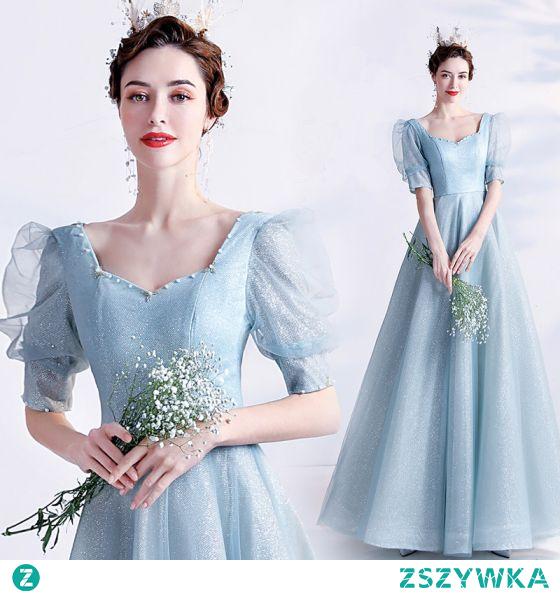 Vintage Błękitne Sukienki Na Bal 2021 Princessa Kwadratowy Dekolt Frezowanie Perła Cekiny 1/2 Rękawy Bez Pleców Długie Bal Sukienki Wizytowe