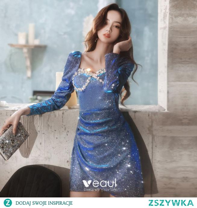 Seksowne Ciemnoniebieski Rhinestone Cekiny Krótkie Sukienki Wieczorowe 2021 Princessa Kwadratowy Dekolt Długie Rękawy Bez Pleców Wieczorowe Sukienki Wizytowe