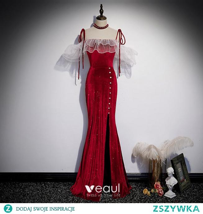 Uroczy Burgund Perła Zamszowe Podział Przodu Sukienki Wieczorowe 2021 Syrena / Rozkloszowane Spaghetti Pasy Bez Rękawów Bez Pleców Wieczorowe Długie Sukienki Wizytowe