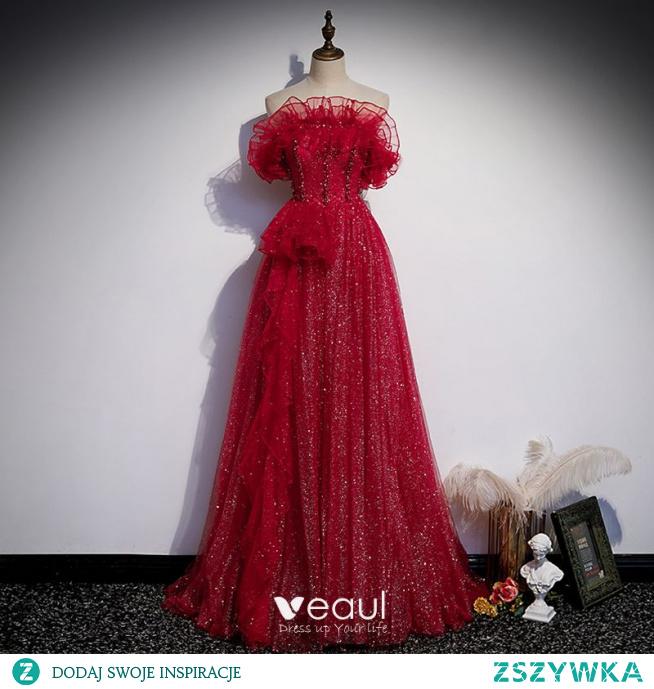 Uroczy Burgund Cekinami Sukienki Na Bal 2021 Princessa Bez Ramiączek Frezowanie Rhinestone Bez Rękawów Bez Pleców Trenem Sweep Bal Sukienki Wizytowe