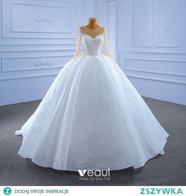 Eleganckie Wysokiej Klasy Białe Suknie Ślubne 2021 Suknia Balowa Wycięciem Frezowanie Perła Cekiny Długie Rękawy Trenem Kaplica Ślub