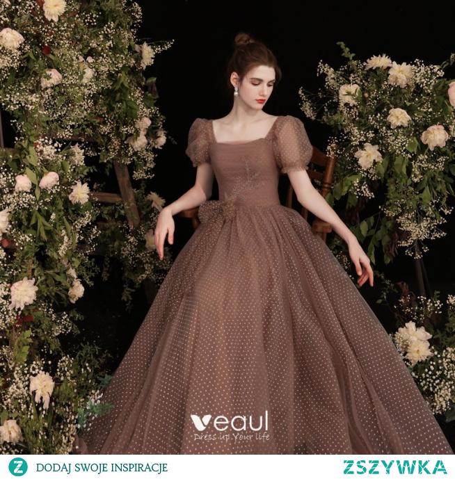 Vintage Brązowy Spleciona Sukienki Na Bal 2021 Princessa Kwadratowy Dekolt Kótkie Rękawy Bez Pleców Długie Bal Sukienki Wizytowe