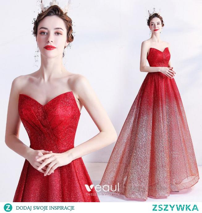 Uroczy Gradient-Kolorów Czerwone Sukienki Na Bal 2021 Bez Ramiączek Cekinami Cekiny Bez Rękawów Bez Pleców Długie Bal Sukienki Wizytowe