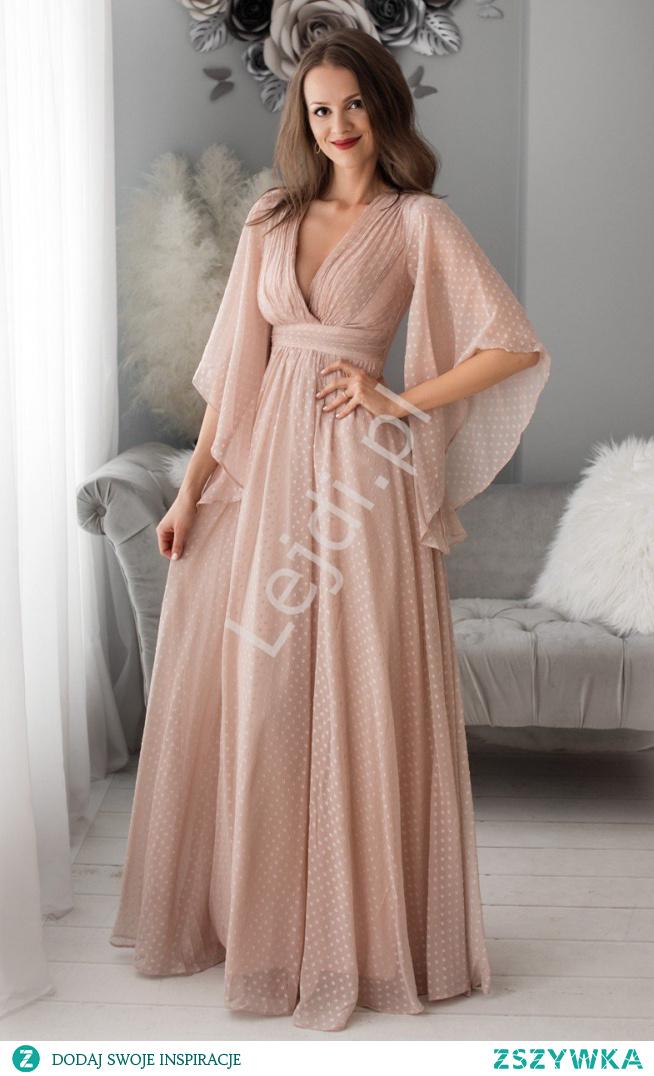 Fenomenalna sukienka wieczorowa w pudrowo różowym kolorze w kropki. Zwiewna sukienka na wesele. Sukienka na studniówkę. Sukienka dla druhny. lejdi.pl