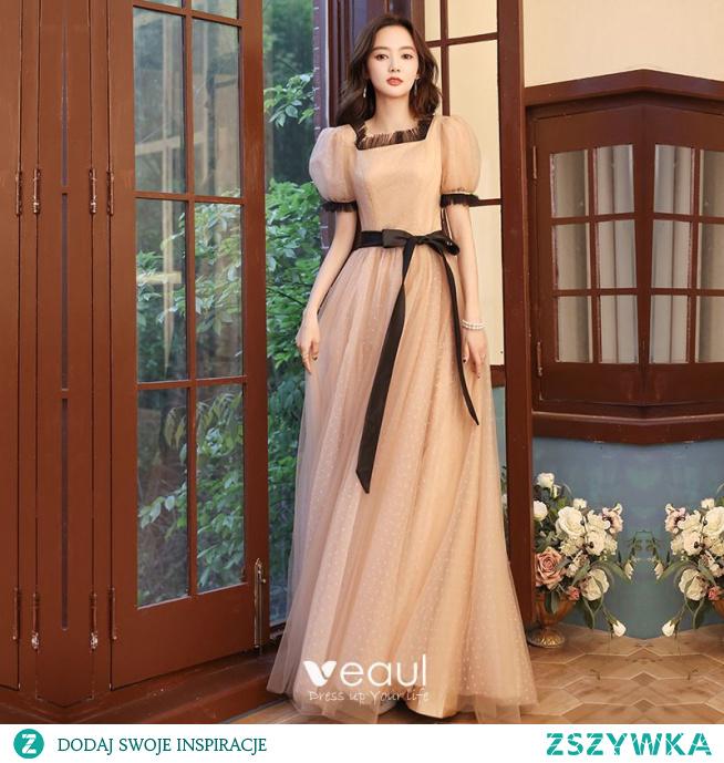 Vintage Szampan Spleciona Sukienki Na Bal 2021 Princessa Kwadratowy Dekolt Kótkie Rękawy Kokarda Długie Bal Sukienki Wizytowe