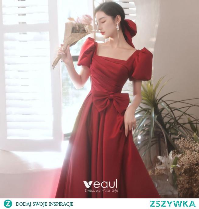 Eleganckie Burgund Satyna Sukienki Na Bal 2021 Princessa Kwadratowy Dekolt Kótkie Rękawy Kokarda Bez Pleców Długie Bal Sukienki Wizytowe