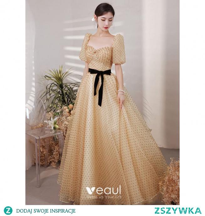 Moda Żółta Spleciona Sukienki Na Bal 2021 Princessa Kwadratowy Dekolt Kótkie Rękawy Kokarda Bez Pleców Długie Bal Sukienki Wizytowe