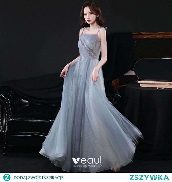 Piękne Błękitne Szary Cekiny Sukienki Na Bal 2021 Princessa Spaghetti Pasy Bez Rękawów Bez Pleców Długie Bal Sukienki Wizytowe