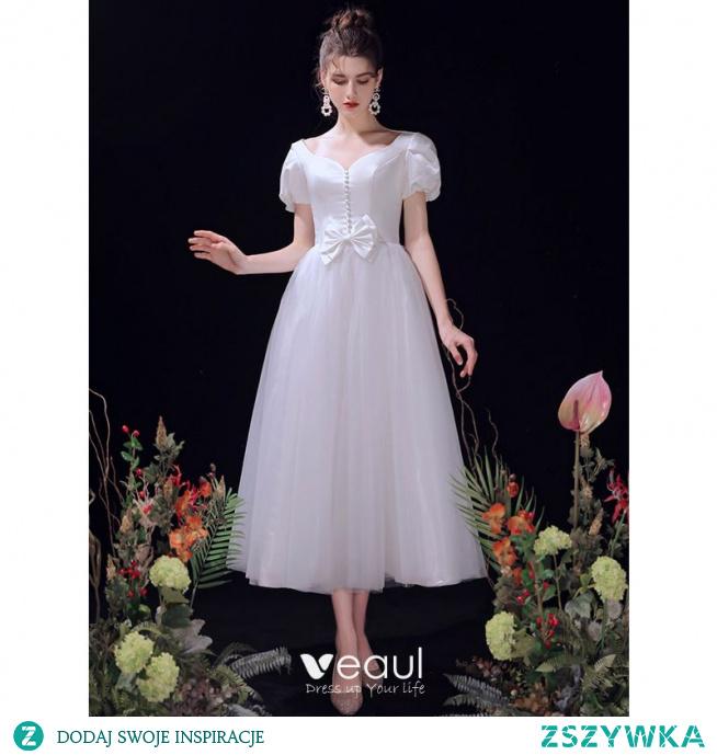 Proste / Simple Kość Słoniowa Suknie Ślubne 2021 Princessa Kokarda V-Szyja Kótkie Rękawy Bez Pleców Długość Herbaty Ślub