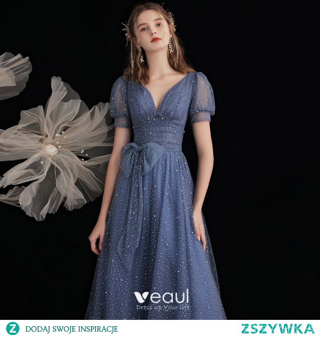 Moda Ciemnoniebieski Cekinami Gwiaździste Niebo Sukienki Na Bal 2021 Princessa V-Szyja Frezowanie Perła Cekiny Kótkie Rękawy Kokarda Bez Pleców Bal Długie Sukienki Wizytowe
