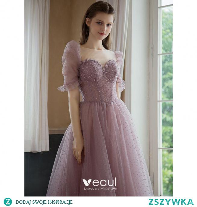 Piękne Ciemny Róż Rhinestone Cekiny Sukienki Na Bal 2021 Princessa Wycięciem Bufiasta Kótkie Rękawy Bez Pleców Długie Bal Sukienki Wizytowe