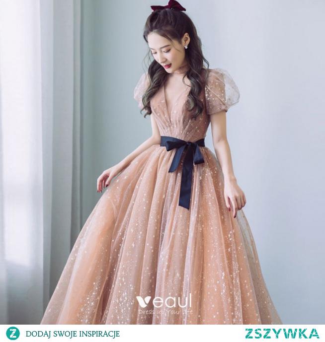 Moda Szampan Sukienki Na Bal 2021 Princessa Wysokiej Szyi Gwiazda Z Koronki Bufiasta Kótkie Rękawy Kokarda Długie Bal Sukienki Wizytowe
