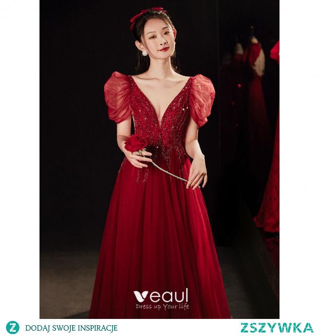 Uroczy Burgund Sukienki Na Bal 2021 Princessa Głęboki V-Szyja Frezowanie Cekiny Kótkie Rękawy Bez Pleców Długie Bal Sukienki Wizytowe