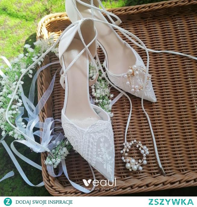Piękne Białe Koronkowe Kwiat Buty Ślubne 2021 6 cm Szpilki Szpiczaste Ślub Wysokie Obcasy