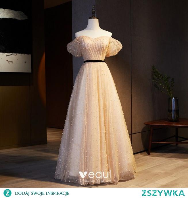Piękne Szampan Sukienki Na Bal 2021 Princessa Przy Ramieniu Szarfa Cekiny Perła Kótkie Rękawy Bez Pleców Długie Bal Sukienki Wizytowe
