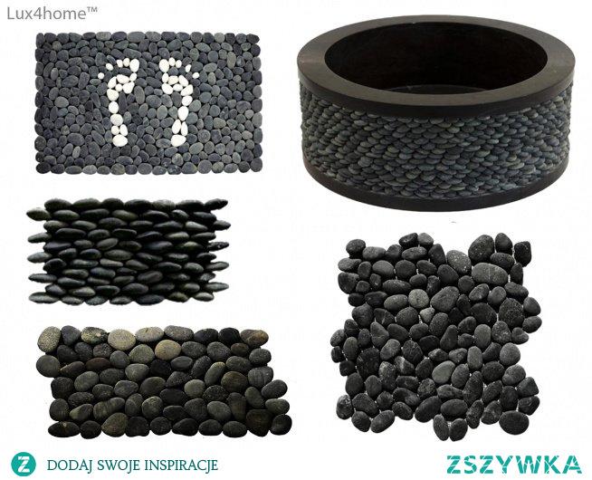 Czarne otoczaki Lux4home™. Zobacz nasze kolekcje kamieni naturalnych które wykorzystujemy i do umywalek i mozaiki. Na zdjęciu: wycieraczka z otoczaków / mata pod prysznic z otoczaków, umywalka z czarnych otoczaków, okładzina 3D z otoczaków, mozaiki z otoczaków na siatce.