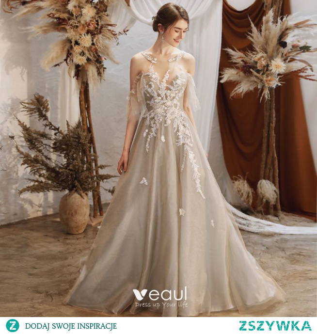 Stylowe / Modne Szary Sukienki Na Bal 2021 Princessa Posiadacz Frezowanie Z Koronki Kwiat Kótkie Rękawy Bez Pleców Trenem Sweep Bal Sukienki Wizytowe
