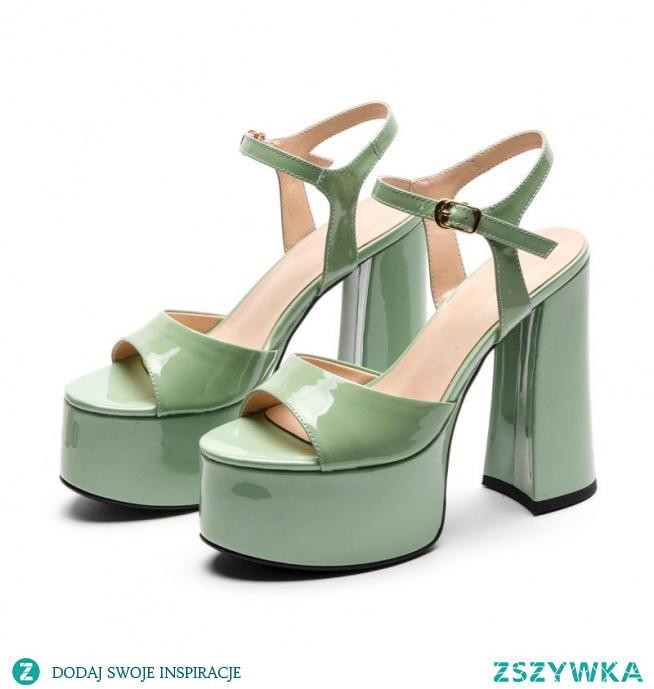 Moda Szałwia Zielony Zużycie ulicy Sandały Damskie 2021 Skórzany Z Paskiem 14 cm Grubym Obcasie Peep Toe Sandały Wysokie Obcasy