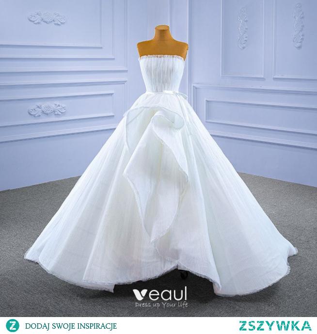 Wysokiej Klasy Białe Kaskadowe Falbany Suknie Ślubne 2021 Suknia Balowa Wzburzyć Bez Ramiączek Bez Rękawów Bez Pleców Długie Ślub