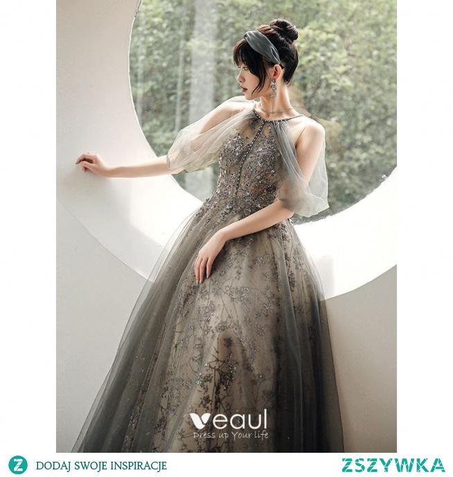 Uroczy Szary Frezowanie Perła Cekiny Sukienki Na Bal 2021 Princessa Posiadacz Kótkie Rękawy Bez Pleców Długie Bal Sukienki Wizytowe