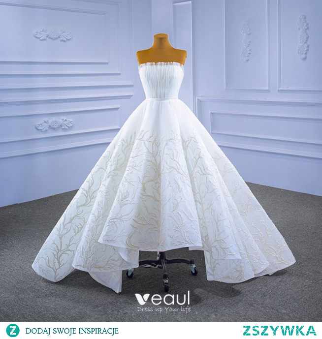 Haut de Gamme Blanche Robe De Mariée 2021 Robe Boule Perlage Volants Bustier Sans Manches Dos Nu Ceinture Train De Balayage Mariage