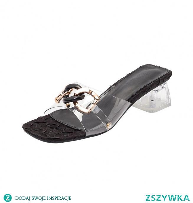 Seksowne Czarne Przypadkowy Sandały Damskie Pantofle & Klapki 2021 5 cm Szpilki Peep Toe Wysokie Obcasy