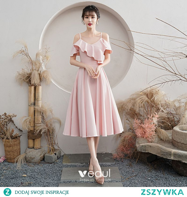 Proste / Simple Rumieniąc Różowy Homecoming Sukienki Na Studniówke 2021 Princessa Spaghetti Pasy Kótkie Rękawy Bez Pleców Długość Herbaty Sukienki Wizytowe