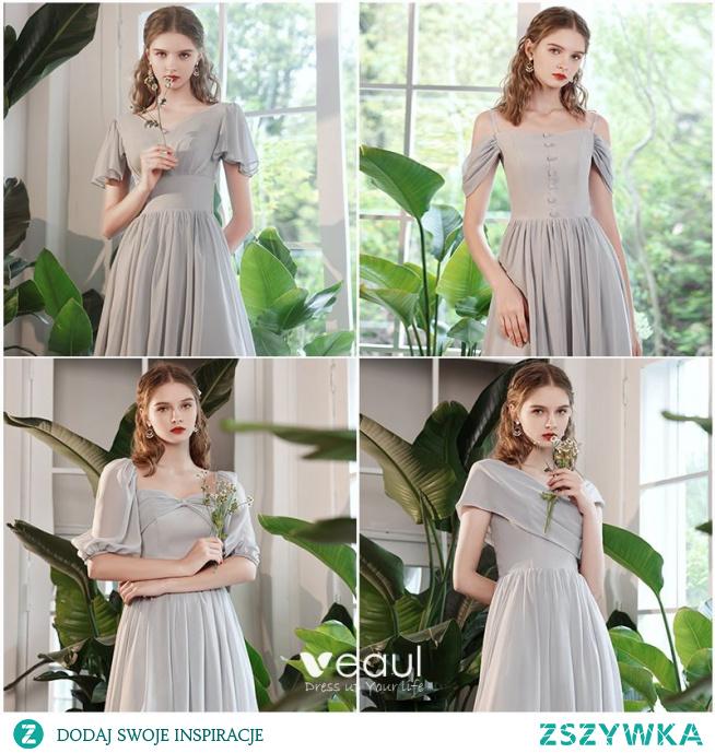 Proste / Simple Szary Sukienki Na Studniówke 2021 Princessa Wycięciem Bez Pleców Długie Na Wesele Kótkie Rękawy Sukienki Wizytowe