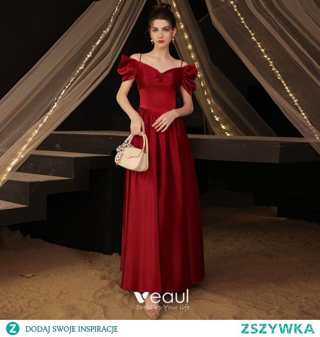 Eleganckie Burgund Satyna Sukienki Na Bal 2021 Princessa Spaghetti Pasy Wzburzyć Kótkie Rękawy Bez Pleców Długie Bal Sukienki Wizytowe