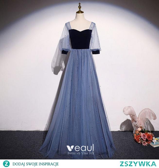 Eleganckie Ciemnoniebieski Zamszowe Perła Sukienki Na Bal 2021 Princessa Kwadratowy Dekolt 1/2 Rękawy Bez Pleców Długie Bal Sukienki Wizytowe