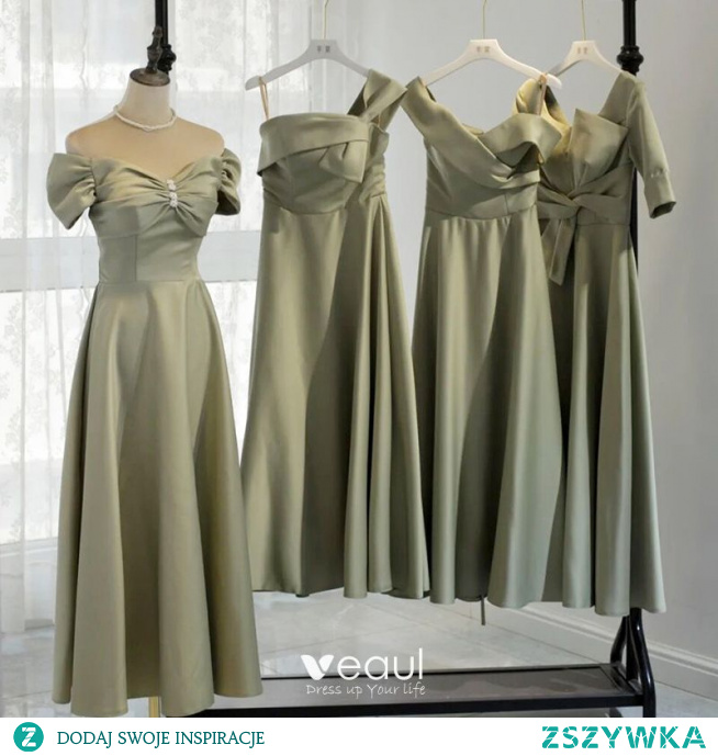 Proste / Simple Szałwia Zielony Satyna Sukienki Dla Druhen 2021 Princessa Bez Pleców Długość Herbaty Sukienki Na Wesele