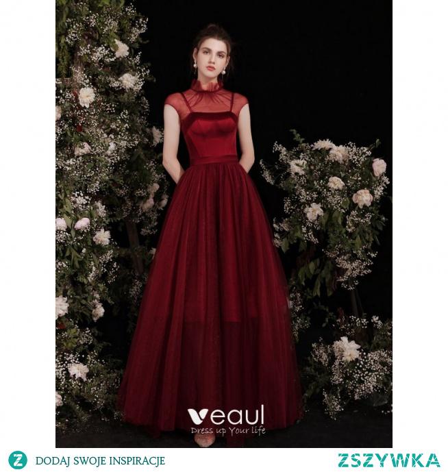 Piękne Burgund Satyna Sukienki Na Bal 2021 Princessa Spaghetti Pasy Bez Rękawów Bez Pleców Kokarda Długie Bal Sukienki Wizytowe