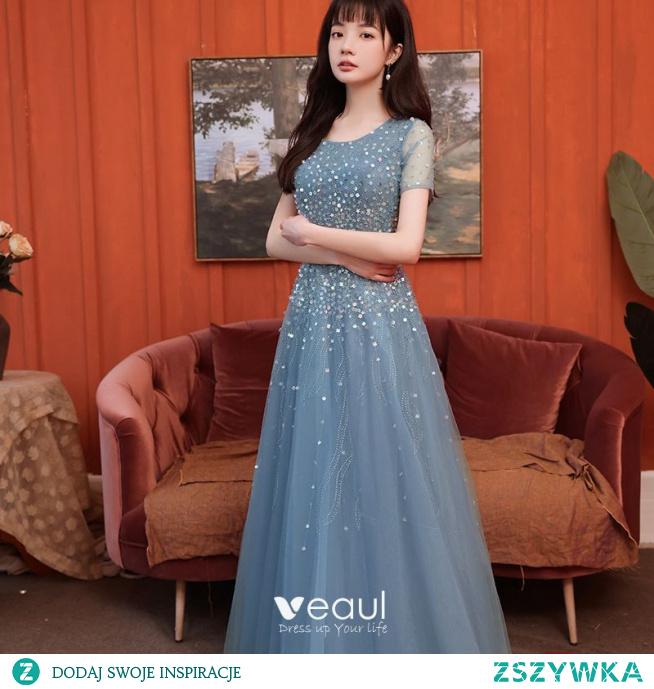 Błyszczące Ciemnoniebieski Sukienki Na Bal 2021 Princessa Wycięciem Gwiazda Cekiny Rhinestone Kótkie Rękawy Długie Bal Sukienki Wizytowe