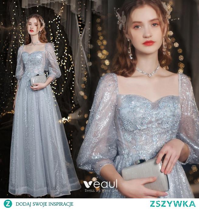 Błyszczące Srebrny Frezowanie Cekiny Rhinestone Sukienki Wieczorowe Sukienki Na Bal 2021 Princessa Kwadratowy Dekolt Z Koronki Kwiat 3/4 Rękawy Bez Pleców Długie Wieczorowe Bal Sukienki Wizytowe